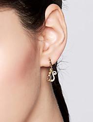 abordables -Femme Adorable Chat S925 argent sterling / Dorage 18K Boucles d'oreille goutte / Boucles d'oreille gitane - Or Forme de Cercle Des