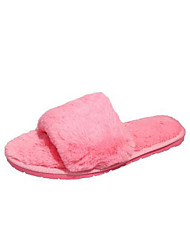 baratos -Mulheres Sapatos Flanelado Outono & inverno Conforto Chinelos e flip-flops Sem Salto Peep Toe Penas Preto / Cinzento / Rosa claro