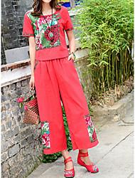 baratos -t-shirt de linho de senhora - colorido sólido / floral / bloco de cor em volta do pescoço