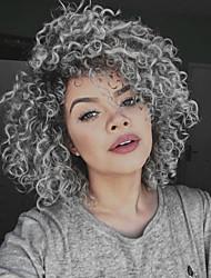 Недорогие -Синтетические кружевные передние парики Кудрявый Стрижка боб Искусственные волосы Парик в афро-американском стиле Темно-серый Парик Жен. Средняя длина Лента спереди / Да