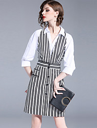 cheap -SHIHUATANG Women's Street chic A Line / Shirt Dress - Striped Patchwork