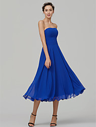 cheap -A-Line Strapless Tea Length Chiffon Bridesmaid Dress with Ruching by LAN TING BRIDE®