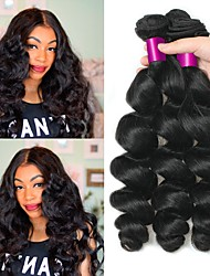 cheap -Peruvian Hair / Loose Wave Wavy Human Hair Extensions 3 Bundles Human Hair Weaves Soft / Best Quality / New Arrival Natural Black Human Hair Extensions Women's