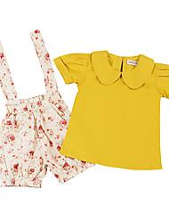 economico -Bambino (1-4 anni) Da ragazza Fantasia floreale / Con stampe Manica corta Completo