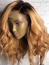 Недорогие -Натуральные волосы Лента спереди Парик Стрижка боб Боковая часть стиль Бразильские волосы Волнистый Естественные кудри Парик 250% Плотность волос / Природные волосы / Необработанные