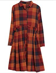 cheap -Women's Shirt Dress - Plaid Shirt Collar / Fall