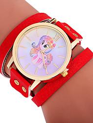 baratos -Xu™ Mulheres Bracele Relógio / Relógio de Pulso Chinês Criativo / Relógio Casual / Adorável PU Banda Desenho / Fashion Preta / Vermelho / Marrom / Mostrador Grande / Um ano