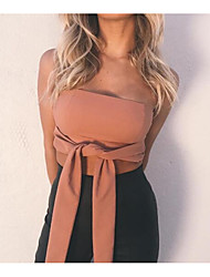 cheap -Women's Basic / Boho Tank Top - Solid Colored Backless / Lace up