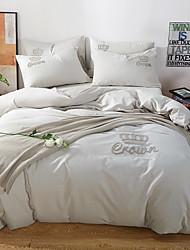 baratos -Conjunto de Capa de Edredão Sólido 100% algodão Bordado 4 PeçasBedding Sets / 400 / 4peças (1 edredão, 1 lençol, 2 coberturas)