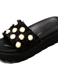 baratos -Mulheres Sapatos Lona / Couro Ecológico Verão Chanel Chinelos e flip-flops Creepers Preto / Rosa claro