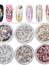 baratos -6pcs Formas de arte do prego Jóias de Unhas Design Moderno / Colorido arte de unha Manicure e pedicure Colorido / Nail Glitter Casual / Jóias de unha