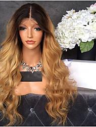 Недорогие -человеческие волосы Remy Лента спереди Парик Стрижка каскад Beyonce стиль Бразильские волосы Волнистый Блондинка Парик 130% Плотность волос с детскими волосами Волосы с окрашиванием омбре Темные корни