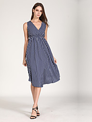 cheap -Women's Basic Butterfly Sleeves A Line / Chiffon Dress - Striped Blue & White, Ruched