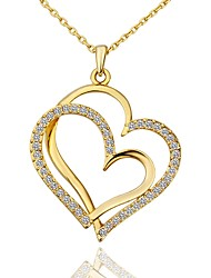 cheap -Women's Cubic Zirconia Pendant Necklace - Gold Plated Heart Fashion Heart Gold, White, Rose Gold 45+5 cm Necklace Jewelry 1pc For Gift, Daily