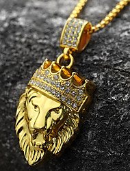 cheap -Men's Pendant Necklace - 18K Gold Plated, Imitation Diamond Lion, Animal, Crown Personalized, Rock, Hip-Hop Gold Necklace 1pc For Party, Gift, Daily