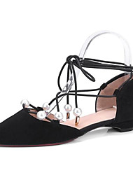 cheap -Women's Shoes Nappa Leather Summer Comfort Sandals Flat Heel Pointed Toe Imitation Pearl Black