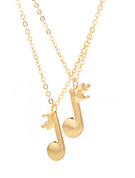 cheap -Women's Long Pendant Necklace - Music Notes Fashion Gold, Black, Silver 49+5 cm Necklace 2pcs For Daily, Going out