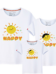 cheap -Kids Family Look Active / Basic Solid Colored / Letter Print Short Sleeve Cotton Tee