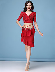 cheap -Belly Dance Outfits Women's Performance Nylon Cascading Ruffles / Split Joint / Gore Half Sleeve Dropped Skirts / Top