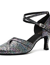 baratos -Mulheres Sapatos de Dança Moderna Couro Envernizado Salto Lantejoulas Salto Grosso Sapatos de Dança Preto e Prateado