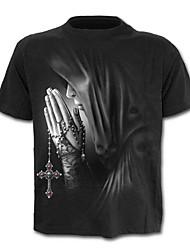 baratos -Homens Camiseta Activo / Básico Geométrica / Retrato