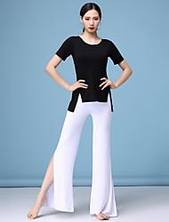 baratos -Dança do Ventre Roupa Mulheres Treino Modal Com Fenda Manga Curta Caído Blusa / Calças