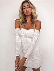 cheap -Women's Going out Skinny Sheath Dress High Waist Strapless
