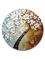 Недорогие -styledecor® современная ручная роспись абстрактная круглая рамка белые цветы дерево в коричневом и зеленом фоне на обернутом холсте