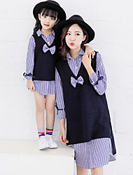 cheap -Mommy and Me Basic Striped Long Sleeve Shirt