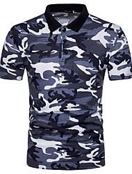 abordables -Hombre Algodón Camiseta, Cuello Camisero camuflaje / Por favor, elija una talla más que su talla normal. / Manga Corta