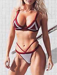 preiswerte -Damen Bikinis - Rückenfrei, Einfarbig Tanga-Bikinihose