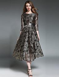 economico -Per donna Vintage / Moda città Linea A / Swing Vestito - Pizzo, Fantasia floreale Medio