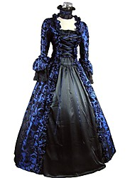 cheap -Rococo / Victorian Costume Women's Dress / Party Costume Bule / Black Vintage Cosplay Flocked 3/4-Length Sleeve Petal Sleeves Halloween Costumes