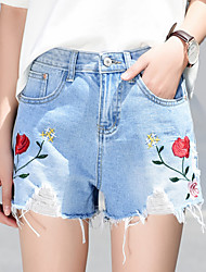 cheap -Women's Active Jeans / Shorts Pants - Floral Embroidered