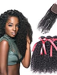 cheap -3 Bundles with Closure Brazilian Hair Curly Human Hair Natural Color Hair Weaves / Hair Bulk / Human Hair Extensions / Hair Weft with Closure 8-22 inch Natural Color Human Hair Weaves 4x4 Closure