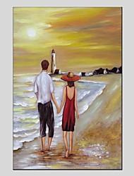 baratos -Pintura a Óleo Pintados à mão - Paisagem / Pessoas Modern Tela de pintura