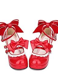 abordables -Chaussures Doux / Lolita Classique / Traditionnelle Princesse Talon Bottier Chaussures Dentelle consue 6.5 cm CM Rouge Pour PU