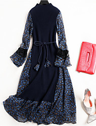 cheap -Women's Going out Basic / Chinoiserie Flare Sleeve Cotton Slim T Shirt / Swing Dress - Solid Colored / Polka Dot Lace up / Patchwork / Print Stand / Summer