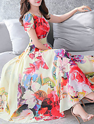 cheap -Women's Plus Size Going out Swing Dress - Floral Print / Summer