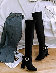cheap -Women's Shoes Suede Spring & Summer Slingback / Fashion Boots Boots Chunky Heel Closed Toe Over The Knee Boots Black