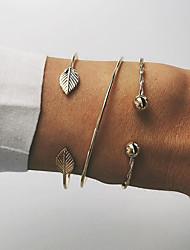 cheap -Women's Layered / Rope Bracelet Bangles / Cuff Bracelet - Leaf Simple, Punk, Trendy Bracelet Gold For Party / Daily / Date / 3pcs