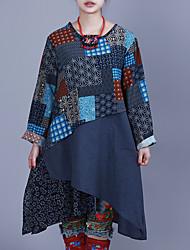 お買い得  -女性用 ボヘミアン パフスリーブ チュニック ドレス - プリーツ, ソリッド 膝丈 ブルー & ホワイト