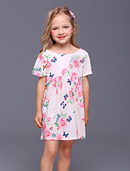 Недорогие -Дети Девочки Бабочка Цветочный принт Без рукавов Платье