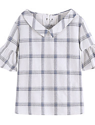 baratos -Mulheres Camiseta - Para Noite Estampa Colorida / Quadriculada Decote V
