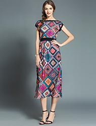 お買い得  -女性用 ボヘミアン / ストリートファッション Aライン ドレス - プリント, 幾何学模様 ミディ