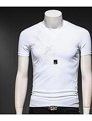 baratos -Homens Camiseta Vintage Pregueado, Sólido