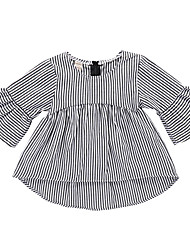 cheap -Baby Girls' Basic Black & White Striped Print Long Sleeve Above Knee Cotton Dress