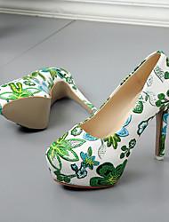 Недорогие -Жен. Обувь Полиуретан Весна лето Туфли лодочки Обувь на каблуках Для прогулок Платформа Закрытый мыс Красный / Зеленый / Синий