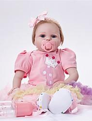 baratos -FeelWind Bonecas Reborn Bebês Meninas 22 polegada realista Cílios aplicados à mão de Criança Para Meninas Brinquedos Dom