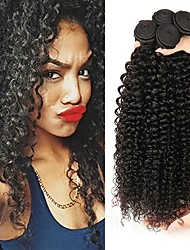 cheap -3 Bundles Mongolian Hair / Kinky Curly Curly Human Hair One Pack Solution 8-28 inch Human Hair Weaves Machine Made Life / Best Quality / Hot Sale Natural Color Human Hair Extensions Women's